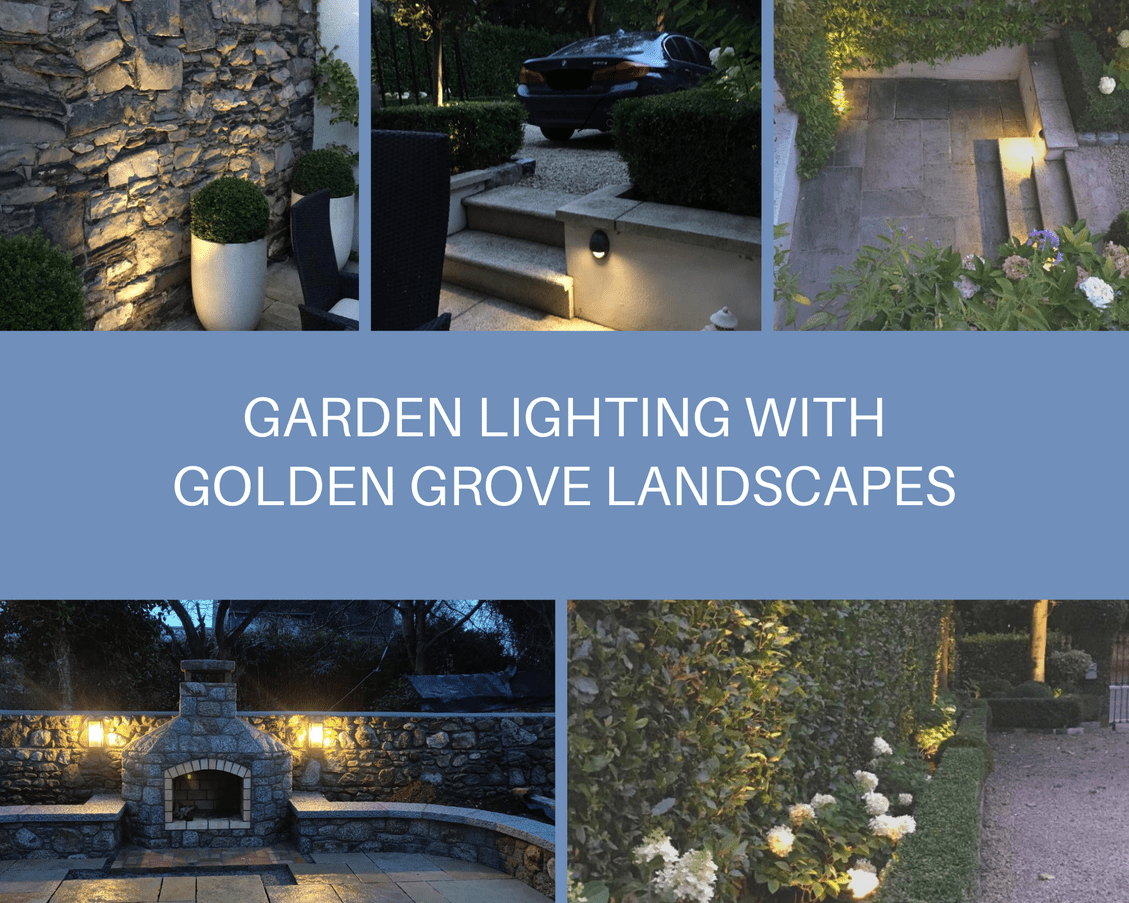 "Alt="" Range of lighting in Irish gardens by Golden Grove Landscapes in Dublin showing a lit outdoor dining area, a lit driveway, a lit stone wall and a lit flowerbed"""